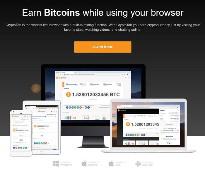 Minare de monedă bitcoin cu browser-ul CryptoTab