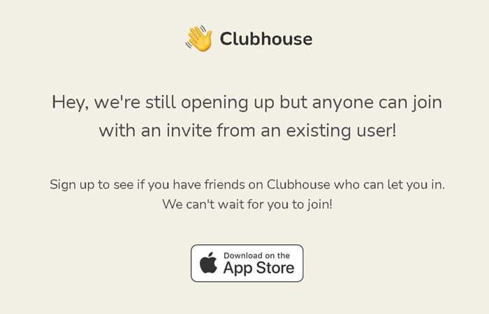 înregistrare pe Clubhouse cu invitație