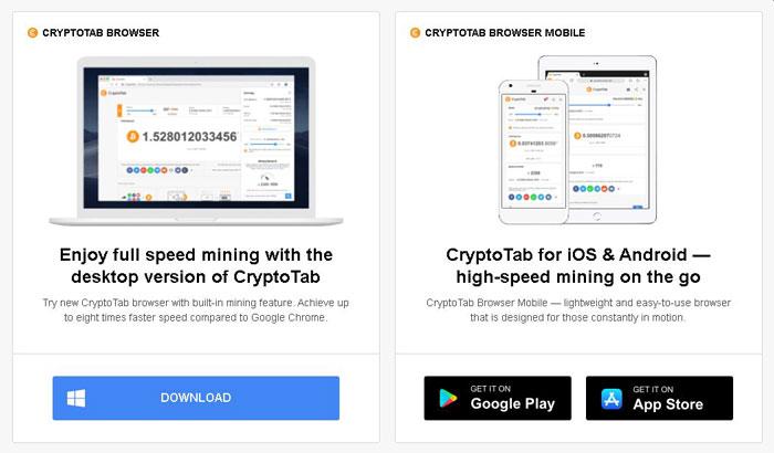 Minare de monedă bitcoin cu CryptoTab