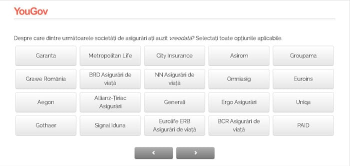 exemplu sondaj asigurari